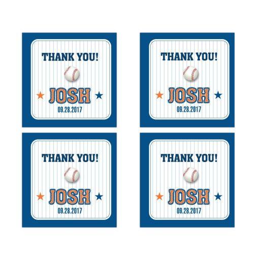 "Bar Bat Mitzvah 2"" Square Stickers - Blue Pinstripe Baseball Sports Card"