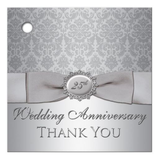 Best 25th wedding anniversary party favor tag in silver damask with ribbon and bow
