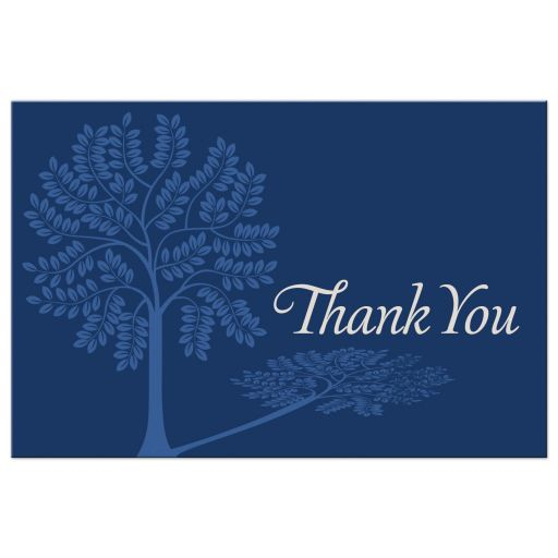 Best blue and tan bar mitzvah thank you post card with Tree of Life