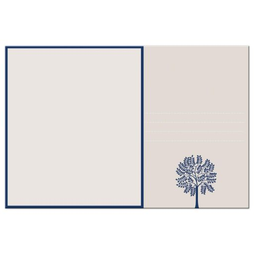 Great bat mitzvah thank you postcard in blue and beige with Tree oF life