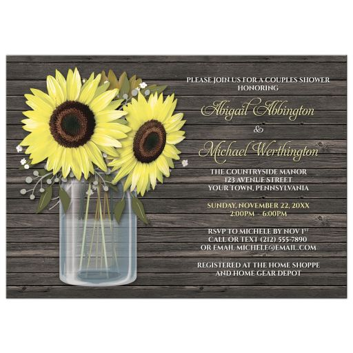 Couples Shower Invitations - Rustic Sunflower Wood Mason Jar