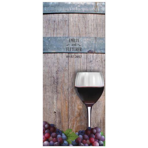 Wedding Event Menu Card - Rustic Winery Vineyard Wine Bottle