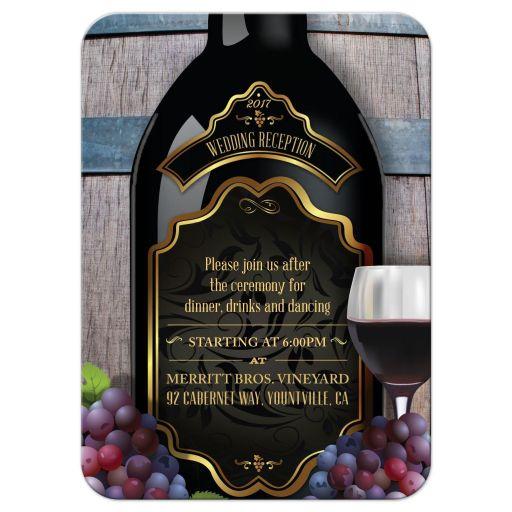Reception Insert Card - Rustic Winery Vineyard Wine Bottle