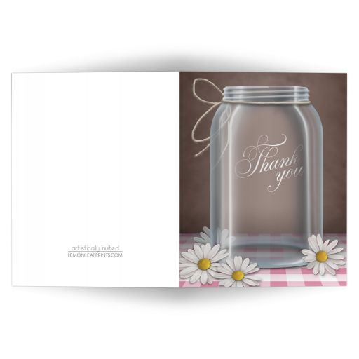 Thank You Cards - Mason Jar Daisy Pink Gingham