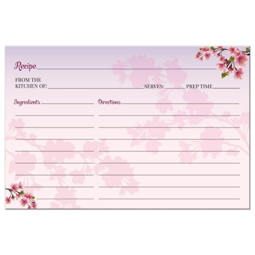 Recipe Card - Cherry Blossom Ombre Bridal Wedding Shower