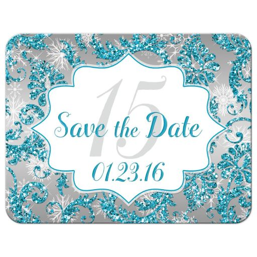 Great winter wonderland Quinceanera birthday party save the date card in turquoise blue, silver and white snowflakes and glitter damask