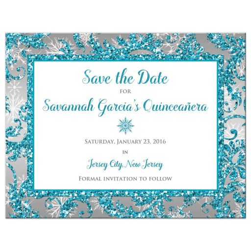 Best aqua teal, silver, white snowflakes mis quince anos 15th birthday party save the date card with glitter and modern shape
