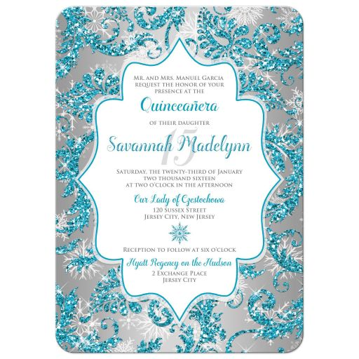 Great winter wonderland Quinceanera birthday party invitation in turquoise blue, silver and white snowflakes and glitter damask