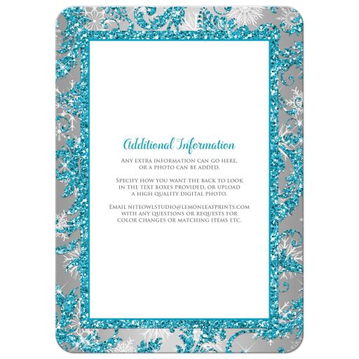 Best aqua teal, silver, white snowflakes mis quince anos 15th birthday party invite with glitter and modern shape
