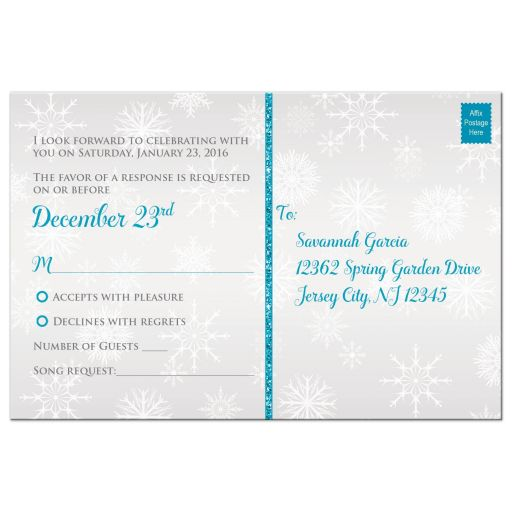Best aqua teal, silver, white snowflakes mis quince anos 15th birthday party rsvp card with glitter and modern shape
