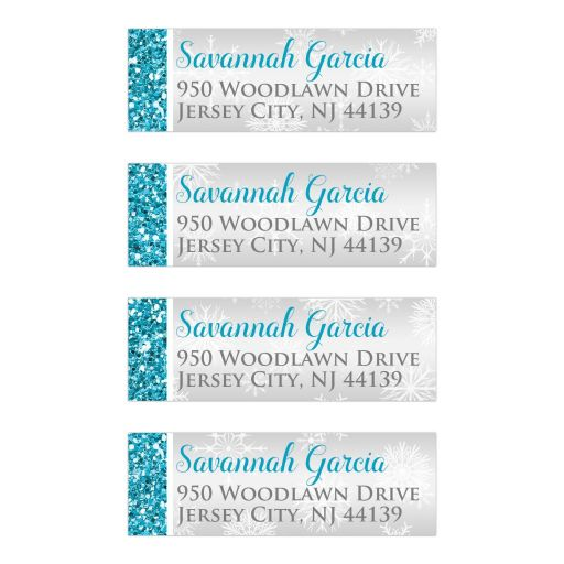 Great winter wonderland Quinceanera birthday party return address labels in turquoise blue, silver and white snowflakes and glitter damask