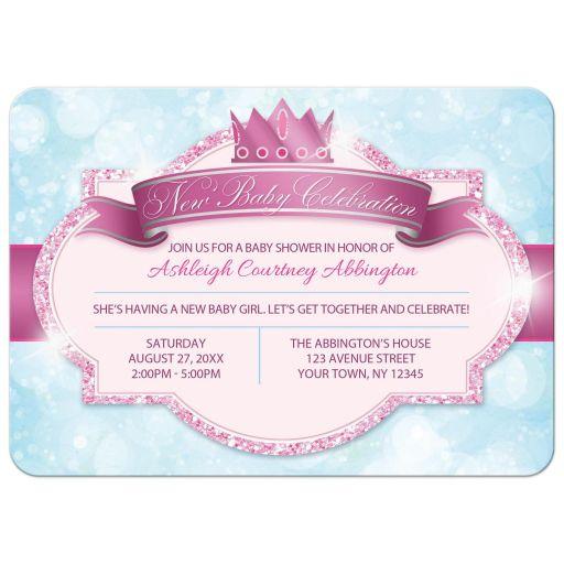 Princess Baby Shower Invitations - Royal Princess Pink Glitter Blue Girls FRONT