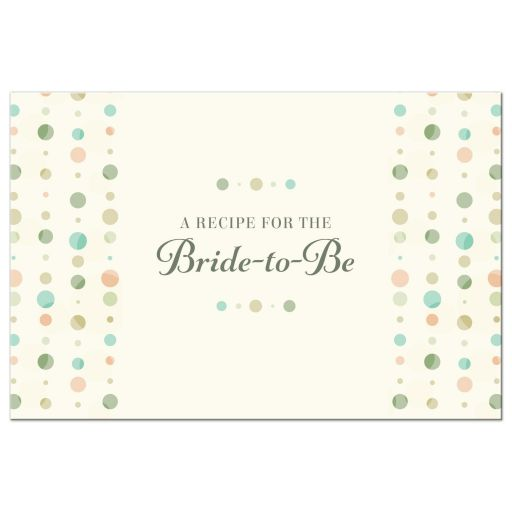 Bridal Shower Wedding Recipe Card - Soft Polka Dot Columns