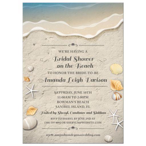 Beach Bridal Wedding Shower Invitation - Waters Edge Seashells and Sand