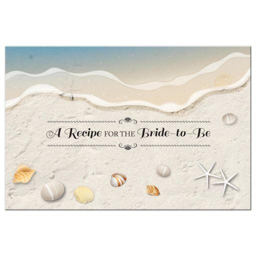 Beach Bridal Wedding Shower Recipe Card - Waters Edge Seashells and Sand