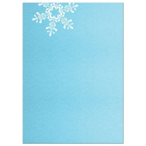 ​Turquoise and royal blue snowflake winter wonderland Bat Mitzvah invitation back