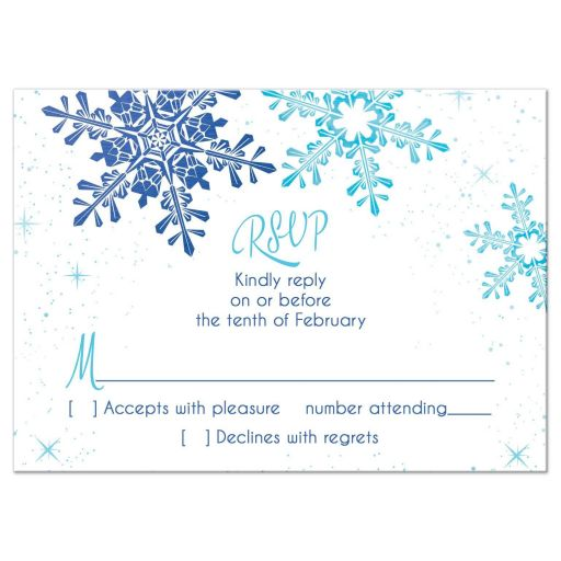 Turquoise and royal blue snowflake winter wonderland Bat Mitzvah RSVP reply card front