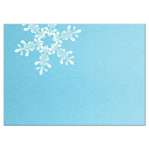 Turquoise and royal blue snowflake winter wonderland Bat Mitzvah RSVP reply card back