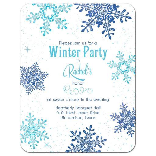 Turquoise and royal blue snowflake winter wonderland Bat Mitzvah reception card front
