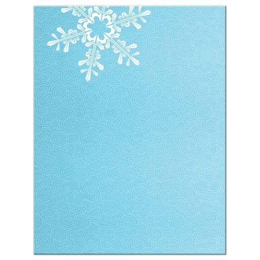 Turquoise and royal blue snowflake winter wonderland Bat Mitzvah reception card back