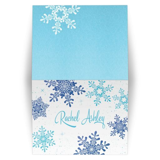 Turquoise and royal blue snowflake winter wonderland Bat Mitzvah thank you card