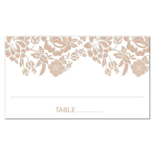 Flat Place Card - Modern Wedding Ecru Floral Damask