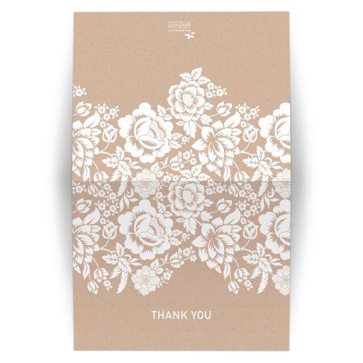 Folded Thank You Card - Modern Wedding Ecru Floral Damask
