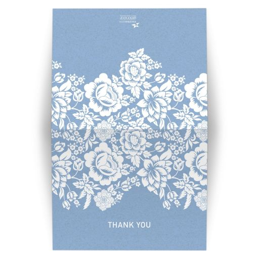 Folded Thank You Card - Modern Wedding Blue Floral Damask