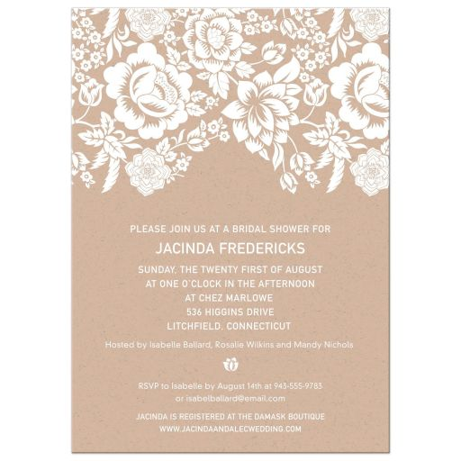 Bridal Shower Invitation - Modern Ecru Floral Damask