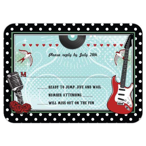 Wedding Reply RSVP Card - Polka Dot Rockabilly Music