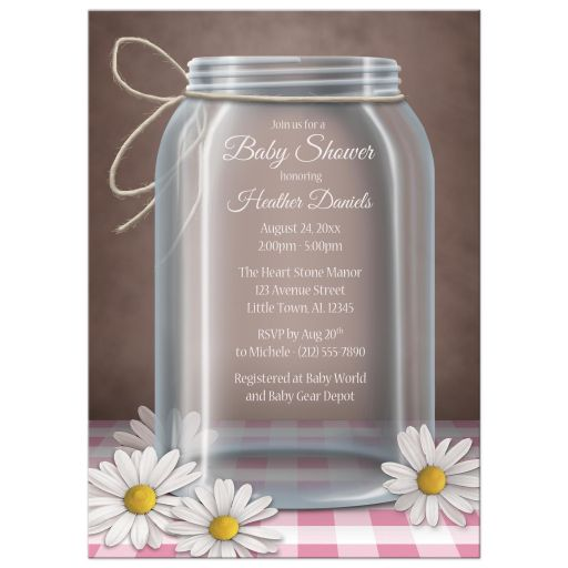 Baby Shower Invitations - Mason Jar Daisy Pink Gingham