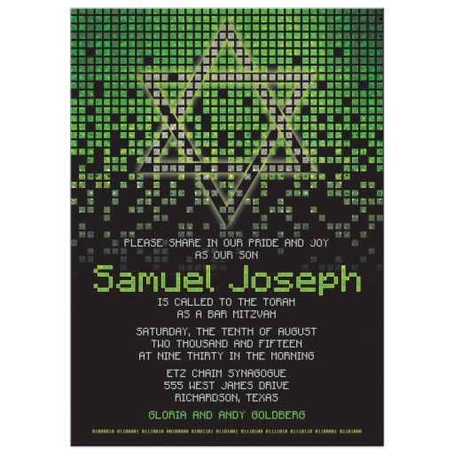 Gamer Lime Green Black Pixel Video Game Bar Mitzvah Invitation