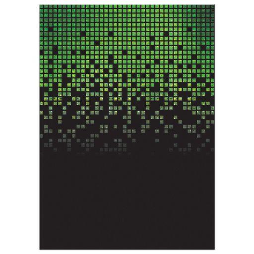 Lime green black pixelated digital techno font video game theme Bar Mitzvah invitation back