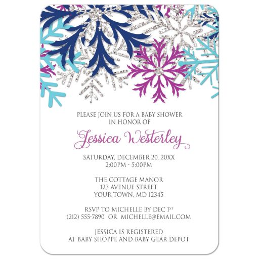 Baby Shower Invitations - Turquoise Navy Orchid Silver Snowflake