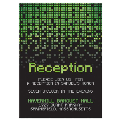Video game pixel graphic green black Bar Mitzvah reception card front