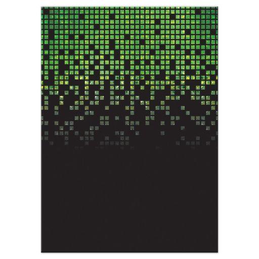 Video game pixel graphic green black Bar Mitzvah reception card back