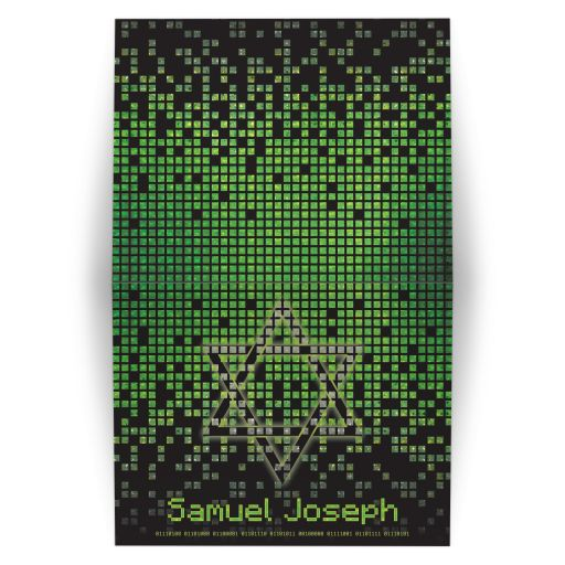 Video Game Bar Mitzvah Thank You Card Gamer Lime Green Black Pixel