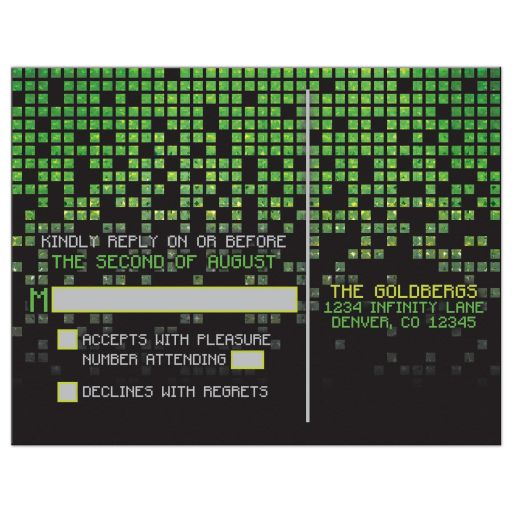 Video game pixel graphic green black Bar Mitzvah RSVP reply postcard back