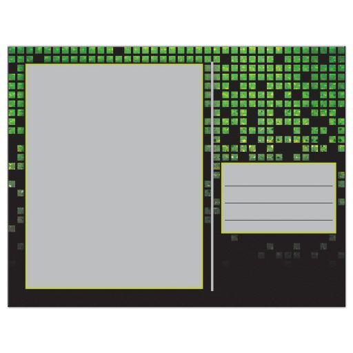 Video game pixel graphic green black Bar Mitzvah thank you postcard back