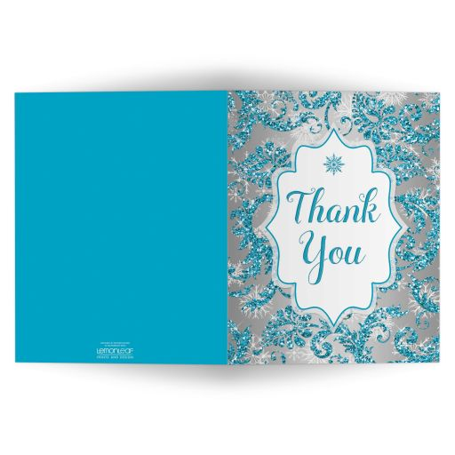 Great winter wonderland Quinceanera birthday party thank you card in turquoise blue, silver and white snowflakes and glitter damask