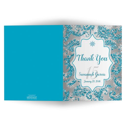 Great winter wonderland Quinceanera birthday party photo thank you card in turquoise blue, silver and white snowflakes and glitter damask