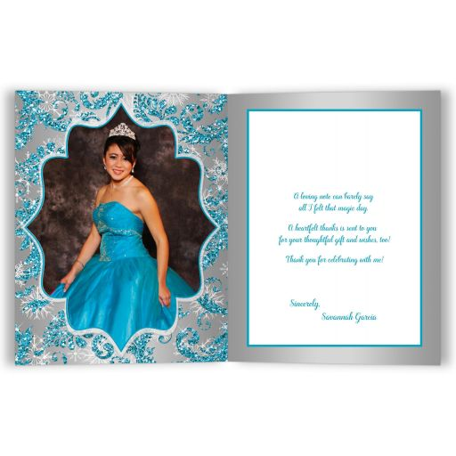 Best personalized aqua teal, silver, white snowflakes mis quince anos 15th birthday photo thank you card with glitter and modern shape