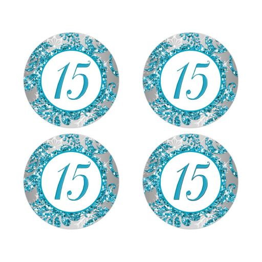 Best turquoise blue, silver, and white snowflakes and glitter damask pattern Quinceañera 15th birthday party stickers with 15 on them