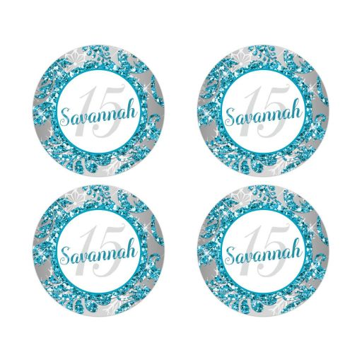 Best turquoise blue, silver, and white snowflakes and glitter damask pattern Quinceañera 15th birthday party stickers with name and number 15 on them
