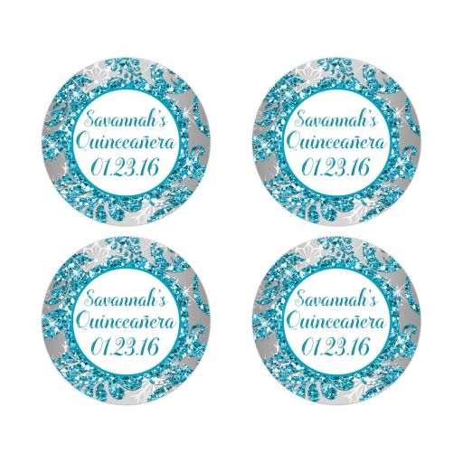 Best personalized turquoise blue, silver, and white snowflakes and glitter damask pattern Quinceañera 15th birthday party stickers with name and date