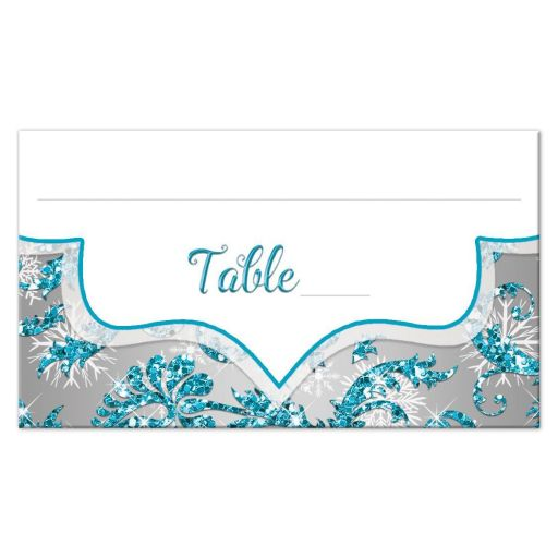 Great winter wonderland Quinceanera birthday party reception place card in turquoise blue, silver and white snowflakes and glitter damask