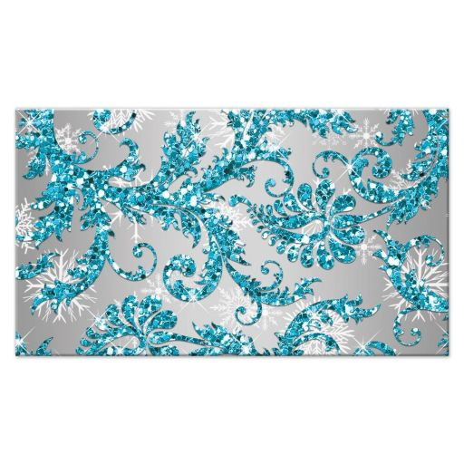 Best aqua teal, silver, white snowflakes mis quince anos 15th birthday party escort card with glitter and modern shape