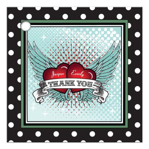 Gift Favor Tag - Polka Dot Rockabilly Flying Hearts