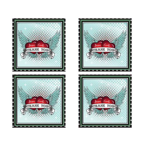 Square Stickers - Polka Dot Rockabilly Flying Hearts