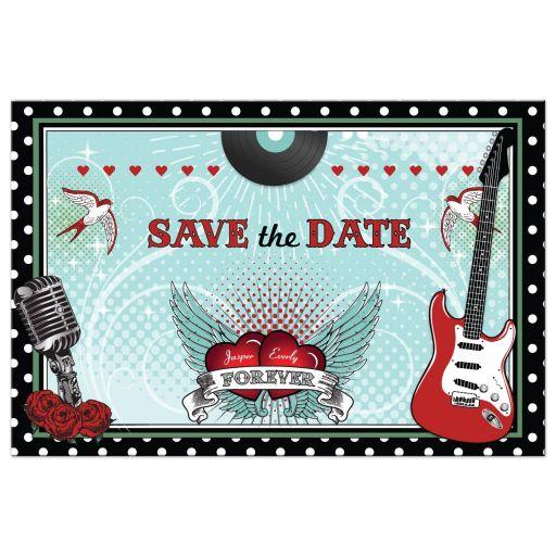 Wedding Save the Date Postcard - Polka Dot Rockabilly Music